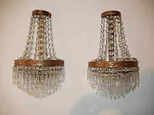 ~OLD HUGE French Crystal Prisms Bronze Sconces Empire Rare 7 Tiers Vintage~