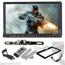 """Double 2Din 7""""In Dash Stereo Car DVD Player Bluetooth Radio iPod SD USB+camera"""
