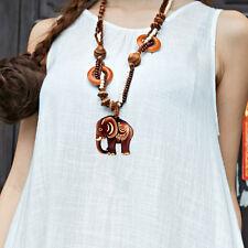 Bohémien Ethnique Style Long Fait À La Main Perle En Bois Collier Éléphant