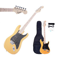 New Glarry ST 22 Frets Burning Fire Basswood Electric Guitar Kit W/Bag Yellow