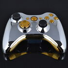 Chrome Silver modded Full Shell Gold Buttons for Xbox 360 Wireless Controller FE