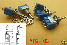 10PCS 3-pin rows MTS103 power supply mini Toggle Switch (ON)-OFF-(ON) Solder Lug