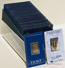 One Hundred (100) one gram PAMP Suisse bars in assay cards 999.9 gold  FREE ship