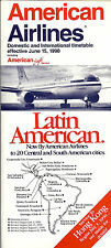 Airline Timetable - American - 15/06/90 - B767 Cover / New to Hong Kong
