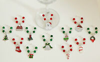 SET OF 12 CHRISTMAS WINE GLASS CHARMS CHRISTMAS TABLE DECORATION STOCKING