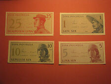 4 INDONESIA 1 5 10 25 SEN Banknotes 1964 UNC Currency Bill Note Paper Money