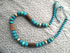 FABULOUS Necklace, 84 CM, Blue Teal Brown Green Wooden Beads QUIRKY ARTY BOHO