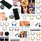 Vintage Women Rhinestone Crystal Nose Lip Bar Ring Studs Piercing Body Jewelry