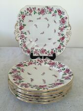 Shelley Haddon Bread & Butter Cake Plate & Six Tea Side Plates