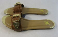 Summer NEW TAN  / GOLD BUCKLES SLIP ON  sexy sandal  SIZE  8