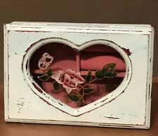 Small Jewelry Trinket Box Wood Hinged Lid Shabby Chic blue Stained Glass heart