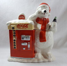 HOUSTON HARVEST COCA-COLA SANTA POLAR BEAR at VENDING MACHINE COOKIE JAR
