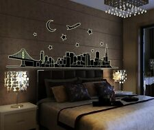 City outline noctilucent Home Decor Removable Wall Sticker/Decal/Decoration