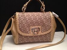 DKNY LUXURY T&C WHIPSTITCH SIGNATURE CHINO & GOLD LEATHER CROSSBODY  SHOULDER