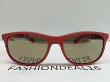 New Rayban Authentic Andy Red Coral Mirrored RB4202 6155/5A Sunglasses