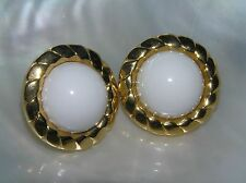 Estate Large White Plastic Dome Cabs in Goldtone Rope Edge Post Earrings for