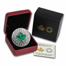 2014 Canada 1 oz Silver Proof $20 Green Enamel Maple Leaf Impression