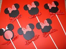 12 Minnie Mouse cupcake picks - cupcake toppers - All occasion - Red / Black