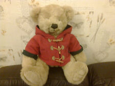 14 INCH HIGH HARRODS TEDDY BEAR WITH RED DUFFLECOAT