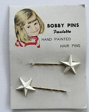 """Vintage Hair Pins - White Hand Painted """"Paulette"""" Star Bobby Pins"""