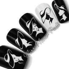 Nail Art Water Decals Transfers Stickers Black & White Monochrome Lady Hats K227
