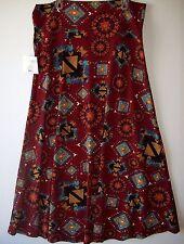 New LULAROE Maxi Skirt Size 3XL Burgundy Maroon Blue Aztec Tribal Print 3X XXXL