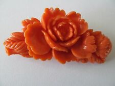 VINTAGE WIDE CORAL TONE CREATED OF PEONY & LEAVES CELLULOID PLASTIC BROOCH PIN