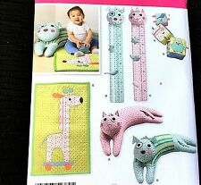 BABY CAT DOG GIRAFFE OWL BIRD Pattern 2389 GROWTH CHART BLOCKS PLAY MAT PILLOW