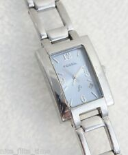 Fossil Women's F2 ES9553 Watch Blue Analog Dial Silver Tone Band