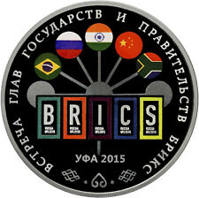 3 rubli Rubles BRICS Summit in Ufa 1oz ARGENTO Russia 2015 Russia