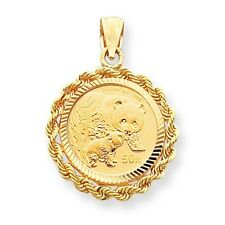 14k Yellow Gold Fancy Rope Bezel Pendant Only Mounting for 1/10oz Panda Coin