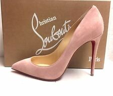 Christian Louboutin Pigalle Follies 100 Ronsard Rose Suede Pumps Heels Shoes 38