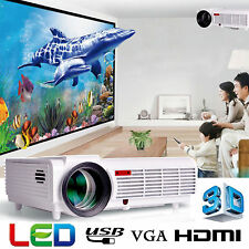 White 3D Home Theater Cinema VGA Movie Game 5000 Lumen Projector HD 1080P LCD