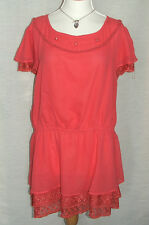 NEW PRASLIN LONG CORAL LACE TRIMMED & BEADED SHORT SLEEVE TUNIC TOP UK 22/24