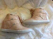 NEW TORRID Faux Suede Wedge Sneakers Size 8 Wide Width W Peach Blush Nude