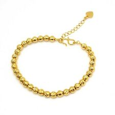 """18k Yellow Gold Filled Charm Bracelet 8.6""""Chain Carved Beads Link GF Jewelry New"""