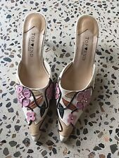 Womens Top End Collection Leather Applique On Canvas Slip On Heel Size 7