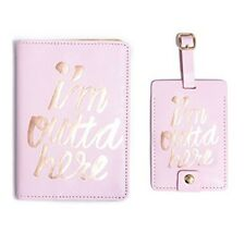 Ban.do The Getaway  I'm Outta Here Pink Gold Foil Passport and Luggage Tag Set