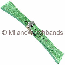 22mm Glam Rock High Quality Hand Made Light Green Genuine Crocodile Watch Band