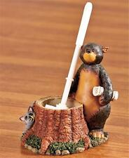 NATURE CALLS OUTHOUSE BEAR DESIGN RUSTIC CABIN BATHROOM TOILET  BRUSH AND HOLDER