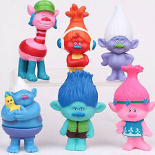 6pcs Trolls Figure Play Set Movie Cartoon Magic Long Hair Dolls Kids Toys Gift