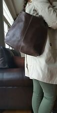 "Kenneth Cole vintage brown leather women's hobo hand bag.  13""x14"", pre owned"