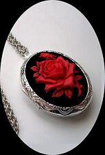 DARK RED ROSE CAMEO Silver Pltd LOCKET NECKLACE gothic vampire blood red