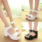 LADIES WOMEN CHUNKY SOLE HIGH HEEL PLATFORM CUT OUT SHOES GLADIATOR SANDALS SIZE