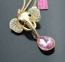 A521#2    Betsey Johnson  Crystal Elephant Head  Pendant Sweater  Necklace