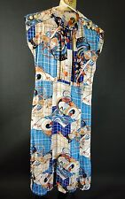 Vintage 30s 40s Cheongsam Asian Rayon Print Dress Study Piece Costume XS S