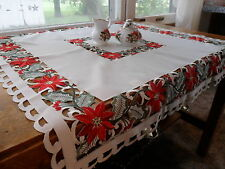 """PRETTY POINSETTIAS Embroidered Holiday 33"""" Table Topper Tablecloth"""
