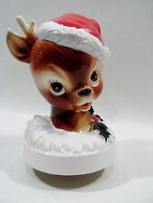 Vintage Christmas Rudolph Red Nose Reindeer 3D Rotating Music Player Japan