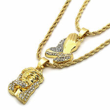 "14k Gold Plated Fashion 2 pcs Jesus & prayer Hand 2mm 30"" & 24"" Rope chain 06"