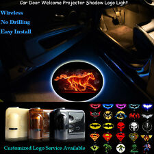 2x 3D Flaming Horse Logo Wireless Car Door Projector LED Light for Ford Mustang